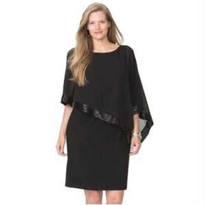 Chaps sequin cold-shoulder chiffon-overlay dress